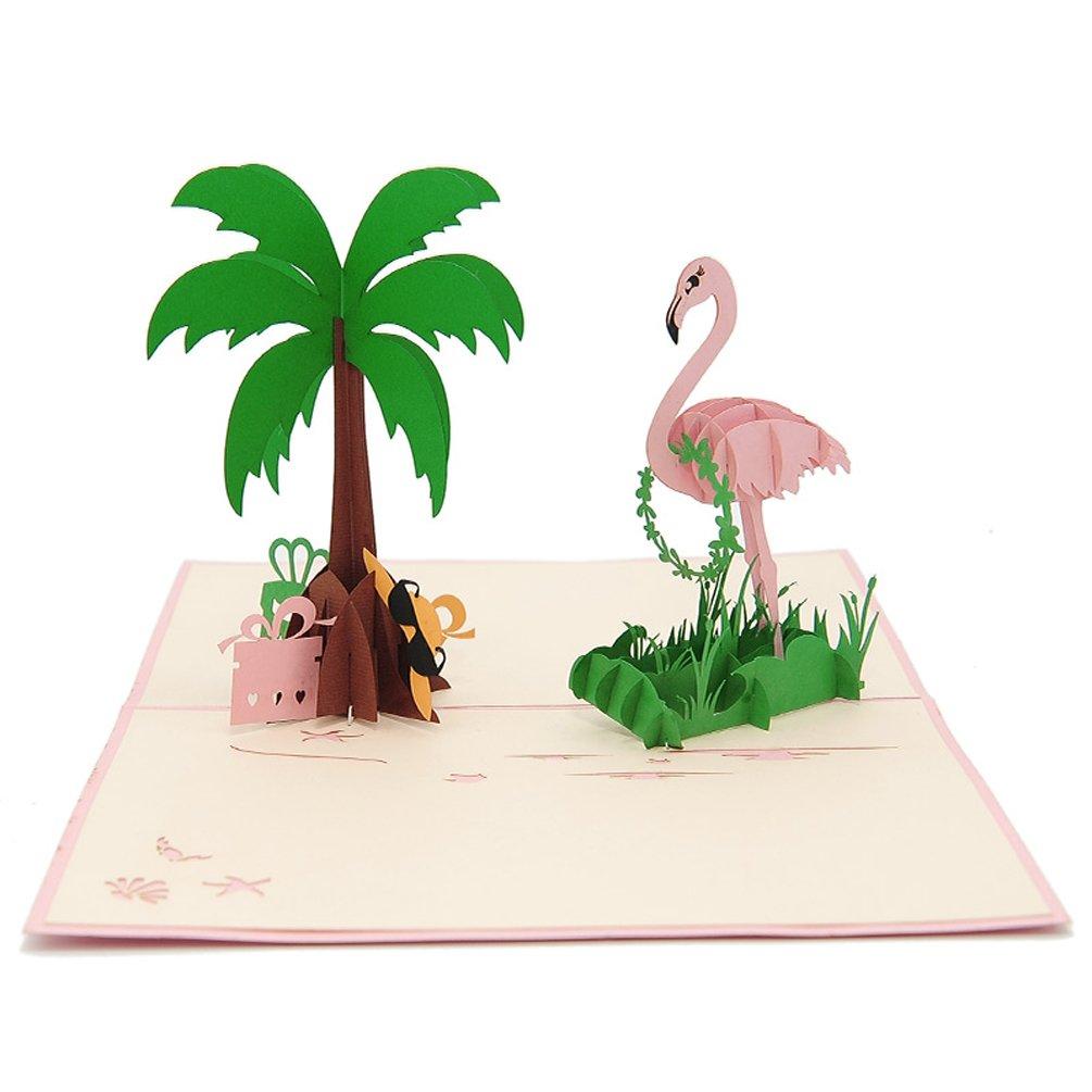 Favour Pop Up Biglietto d' auguri. Un filigranes opere d' arte, che si è quando si apre come un Flamingo con palme entfaltet. tf104