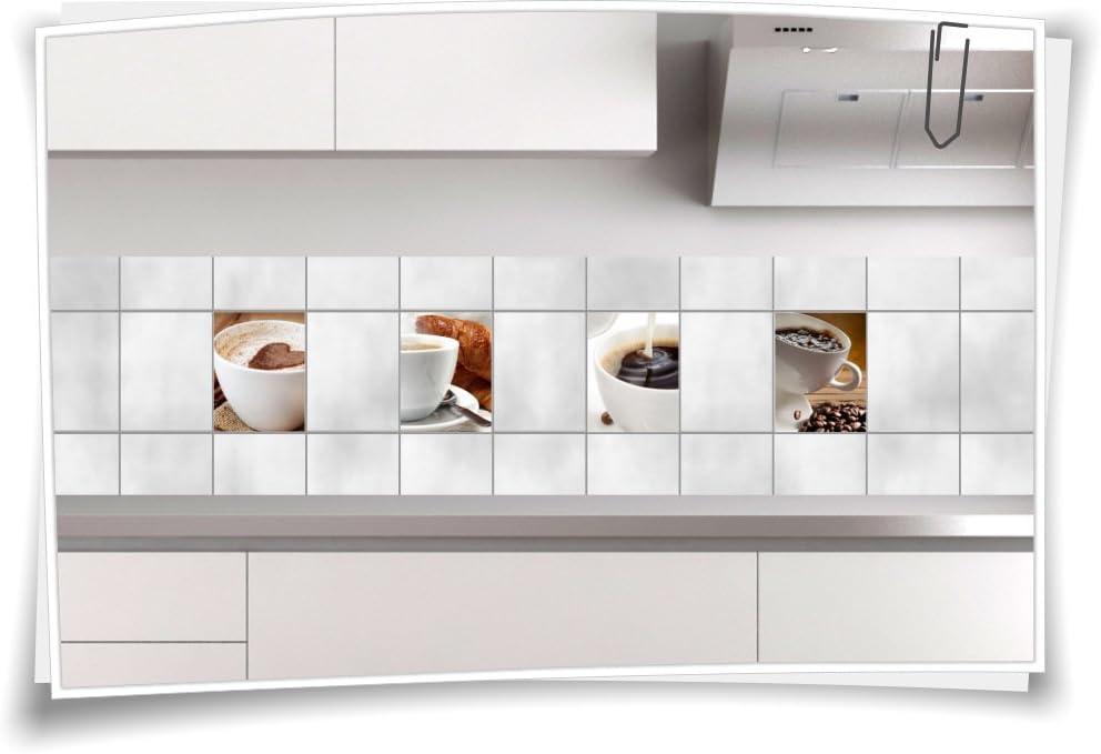 10x10cm Medianlux Fliesenaufkleber Bild Fliesenbild Fliesen Aufkleber Kaffee Bad K/üche Deko Mosaik FP1P9Q