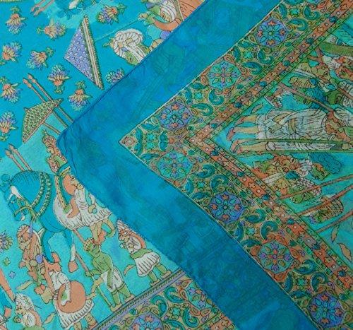 Imprimé Foulard De Soie Pure Carrés Femmes De La Mode Pellicule Souple Hijab 40 X 40 Pouces Vert Et Bleu
