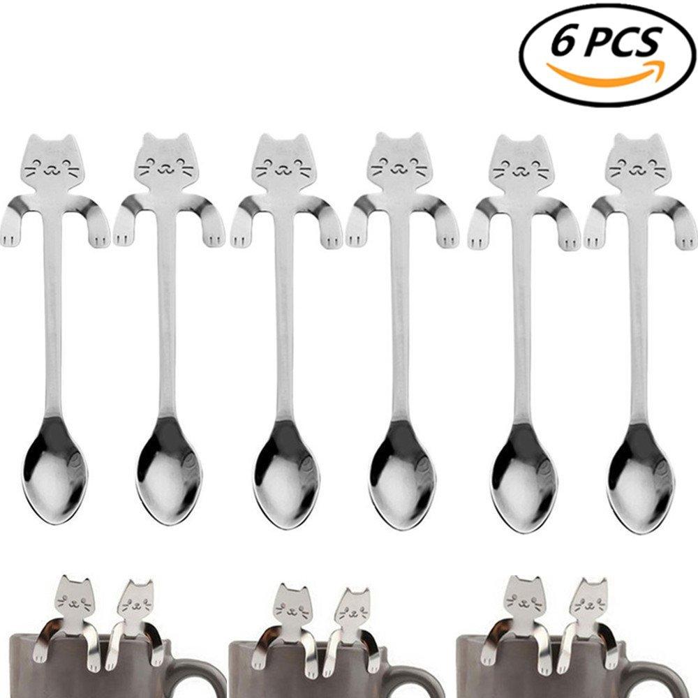 Coscosx 6pezzi in acciaio INOX, cucchiaino da caffè mini Cat Kitty tazza di tè, cucchiaino da zucchero condimento dessert antipasto Bistro, da appendere, cucchiaio da cucina gadget argento Maple Leaves
