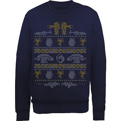 Tee Town Alien Christmas Face Hugger Knit Sweatshirt Navy Xx