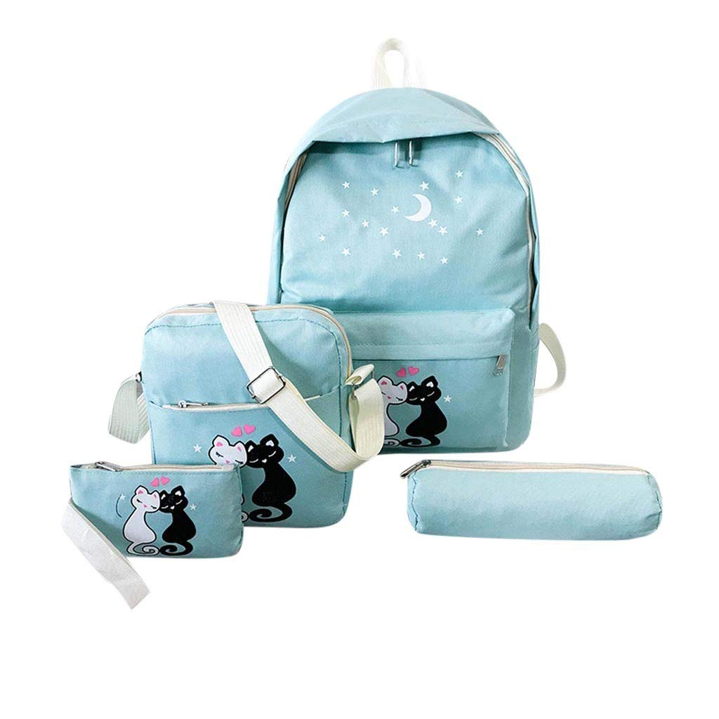 4 Pcs Teen Girls Cute Lightweight Canvas Backpack Set Bookbag Laptop School Backpack Shoulder Bag Handbag