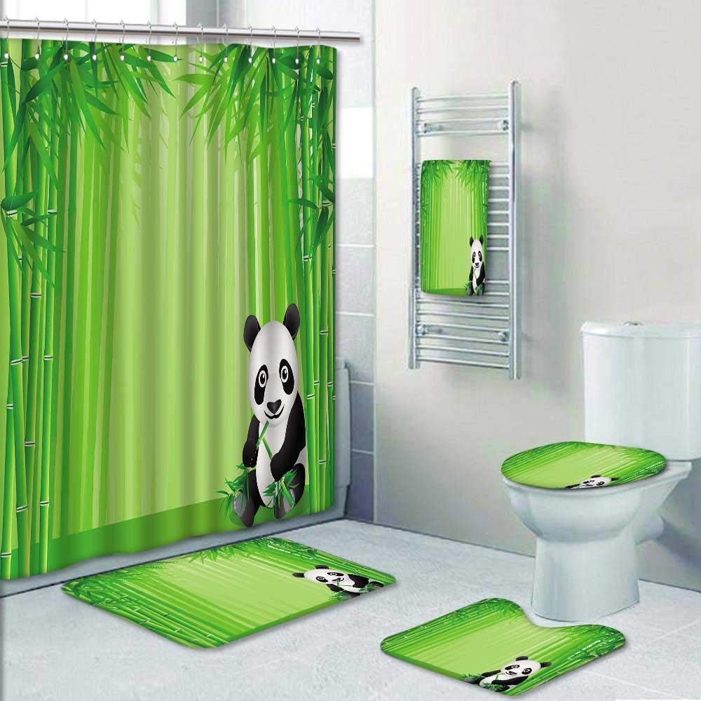 Philip-home 5 Piece Banded Shower Curtain Set Treatments Animal Panda Climbing on a Tree Springtime OrientalAsian Jungle Wildlife Decorate The Bath by Philip-home