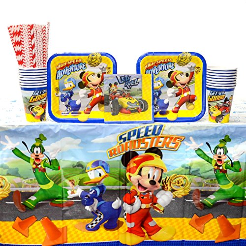 Disney Mickey Roadster Party Supplies Pack for 16 Guests: Straws, Dessert Plates, Beverage Napkins, Table Cover, and Cups for $<!--$26.99-->