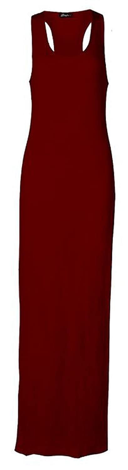 FashionMark Womens Plus Size Plain Racer Back Muscle Maxi Dress