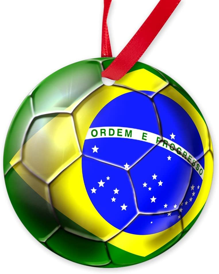 CafePress – Brasil – Balón de fútbol redondo adorno de Navidad ...