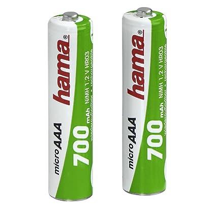 Hama 00056801 - Pilas recargables NiMH AAA 700 mAh 1,2 V, Verde/