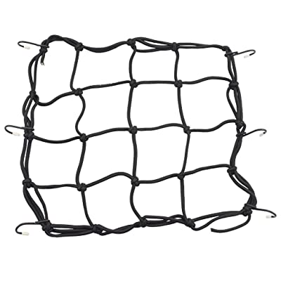 "GOOFIT 12"" x 12"" Elasticated Bungee Luggage Cargo Net with Hooks Hold Down for Motorcycles Motorbike ATVs Bikes Cars Trucks (Black): Automotive"