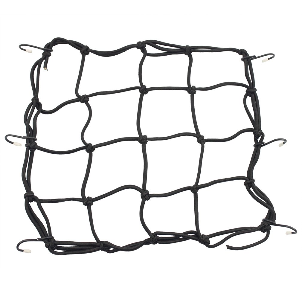 Goofit 30.5 x 30.5 cmMotorcycle Luggage Net Bicycle Mesh Helmet Net with Hook Tension Net Safety Net Elastic Luggage Strap for Motorcycle Bike