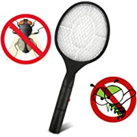 Departure Electric Fly Swatter - Multifunction Bug Zapper Fly Insect Racket Killer, 3V 3-Layer Oversized Mesh Mosquito Repellent & Insect Bug Killer for Indoor and Outdoor(Black)