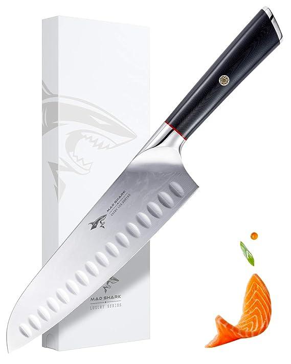 MAD SHARK Cuchillo Damasco Santoku - Cuchillos de Cocina Pro Cuchillo de Chef de 8 Pulgadas, Mango Ergonómico, Navaja de Afeitar, La Mejor Opción para ...