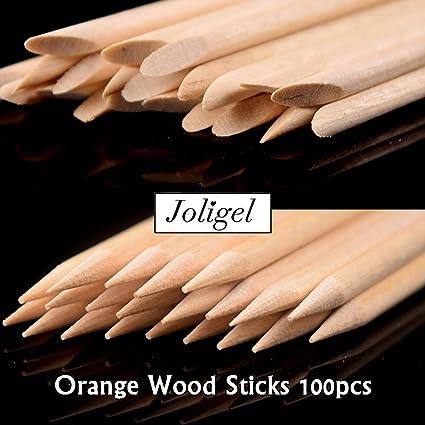 Joligel 100 Palitos de Naranjo de Doble Punta para Uñas, Palitos Empujadores de Cutículas Herramientas