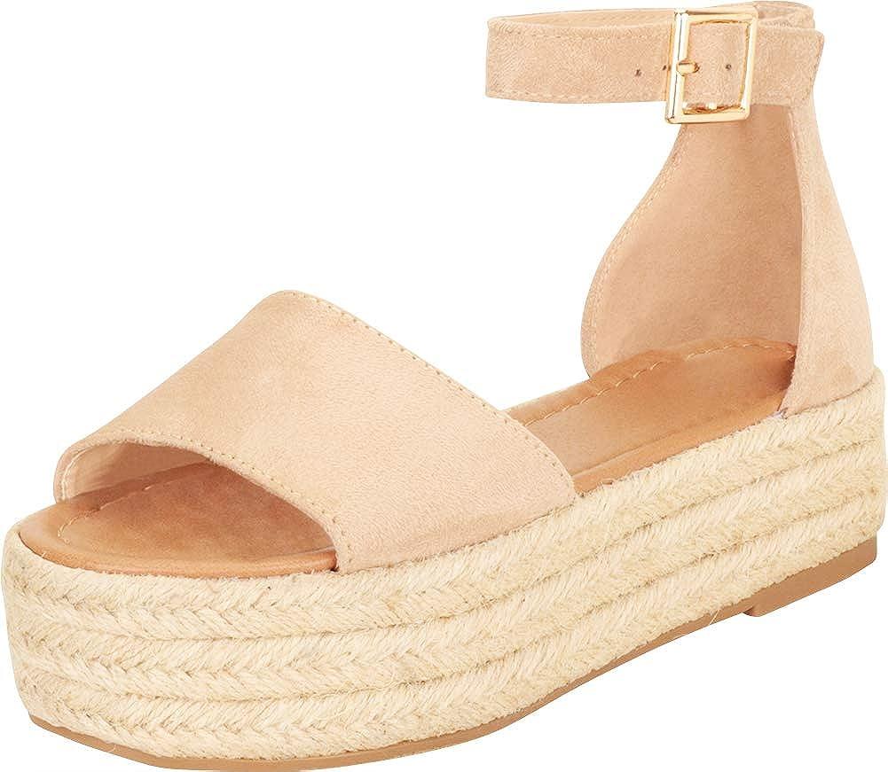 Cambridge Select Women's Open Toe Single Band Ankle Strap Espadrille Chunky Flatform Sandal