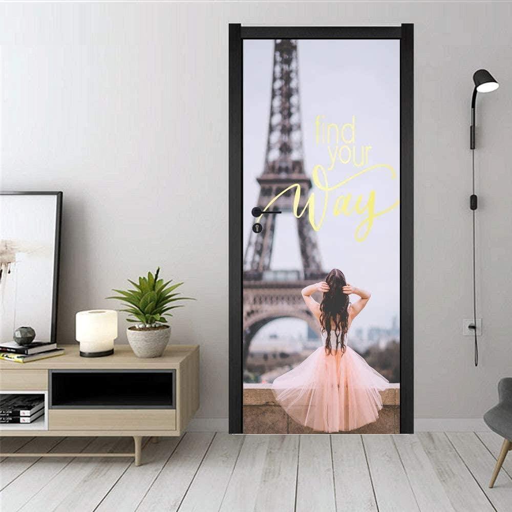 Bdhnmx Murales de puertas autoadhesivos Pelar y pegar Pegatinas de decoración Torre de hierro rosa chica estéreo Papel tapiz extraíble Cartel de arte 30.3X78.7 (77X200Cm)