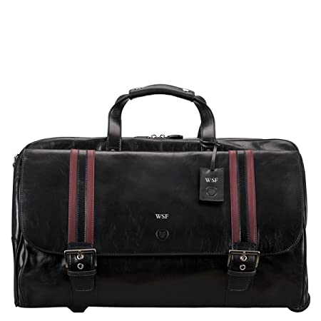 d2d85a87b8 Maxwell Scott Personalised Black Wheeled Handcrafted Italian Leather Travel  Bag for Men (DinoL)  Maxwell Scott  Amazon.co.uk  Luggage