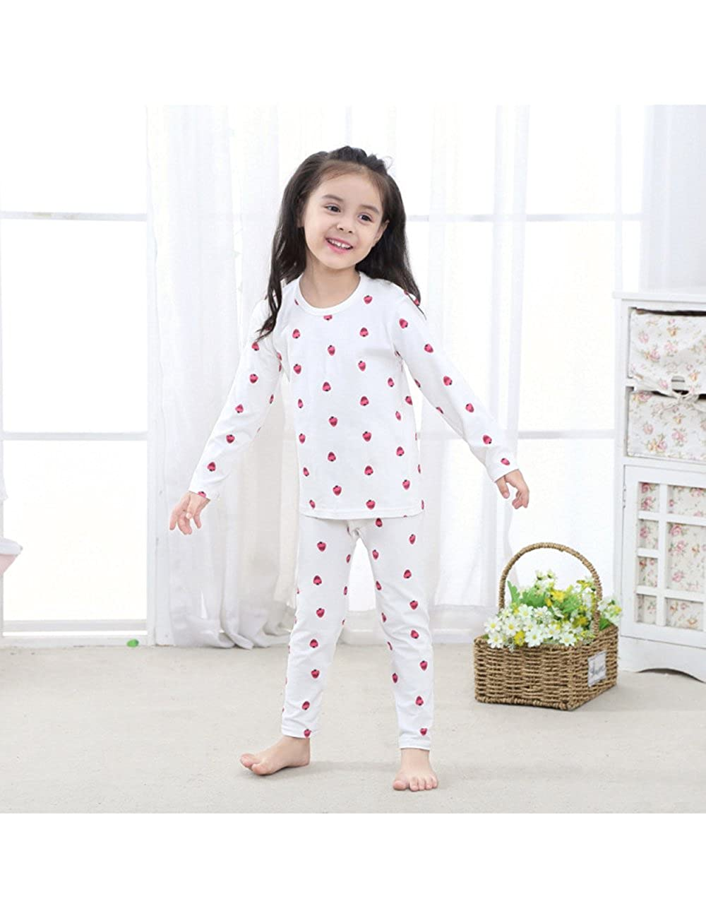 Girls Elastic Thermal Underwear Set Long Top Bottom