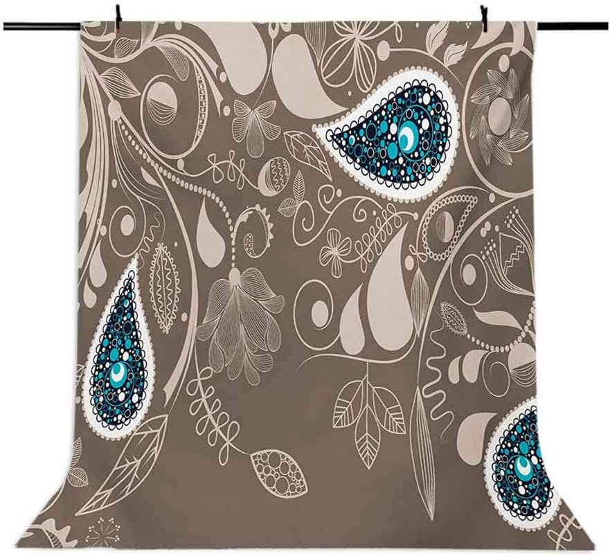 Paisley 10x12 FT Backdrop Photographers,Oriental Motifs with Swirled Branch and Flower Pattern Bohemian Art Background for Baby Shower Birthday Wedding Bridal Shower Party Decoration Photo Studio