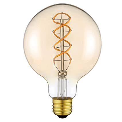Edison Vintage LED Bombilla Filamento Flexible G125 - Regulable, Sin Parpadeo, 4 vatios,