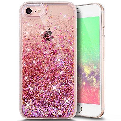 Funda Case iPhone 7 silicona,Ukayfe Carcasa Espejo iPhone 7 Mirror Case,Ultra fina de Tpu funda de silicona espejo brillante Cover Case, brillantes cristal Bling Gliter Espejo �?Carcasa de Protección  Rose