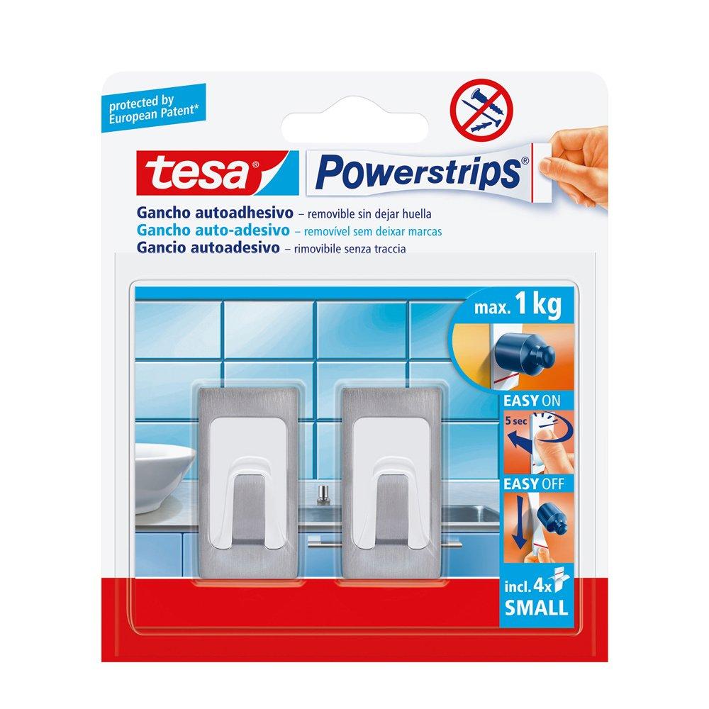 Tesa 57997-00001-01 Powerstrips Small Gancio Adesivo, Metallo/Plastica