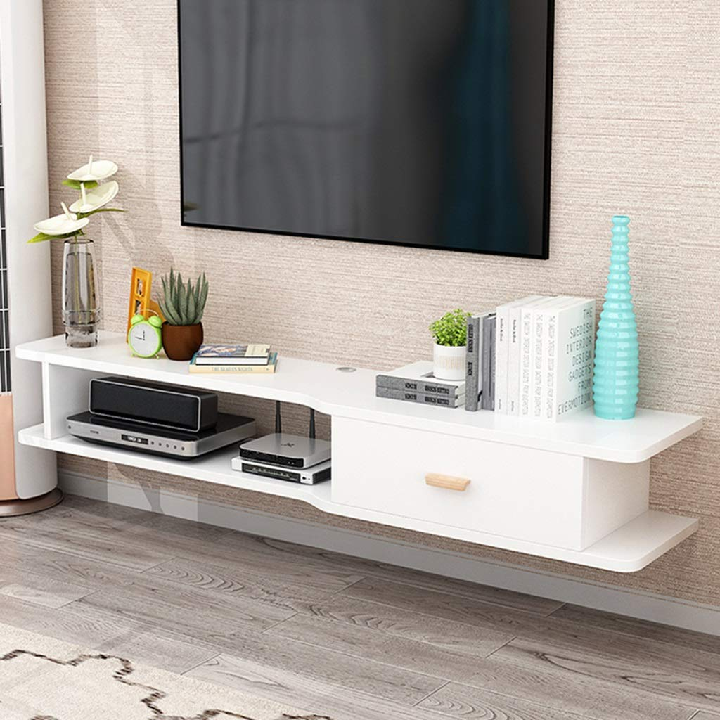 Floating Shelf Wall TV Cabinet Modern Floating TV Stand Console Furniture TV Mounts TV Board Rack Media Console Entertainment Center for Blu-Ray Players Video Game Consoles Cable Boxes Speakers by SjYsXm-Floating shelf