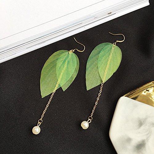 JD Million shop New Hot Embellishment Simple Retro Leaves Green Leaves Earrings, Imitation Pearls Long Tassel Feather Earrings