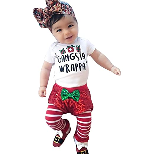 9ba0ad2b0ab9 DETALLAN Newborn Infant Baby Boy Girl Short Sleeve Romper Tops+Shorts Pants  Christmas Outfits Set
