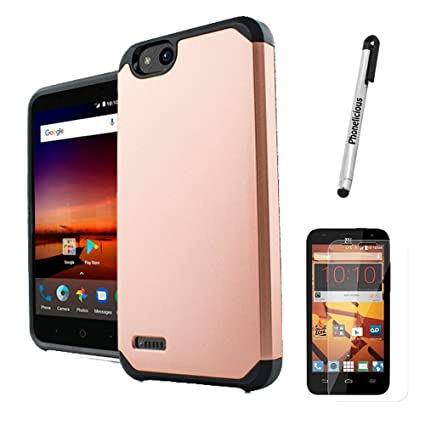 Phonelicious Phone Cover Compatible with ZTE Z557BL Case Z558VL Case, Zte  Zfive GC with Screen Protector Slim Fit and Defender Protective (Rose Gold)