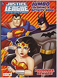 Justice League Unlimited Jumbo Coloring & Activity Book Evildoers Beware, Multicolor