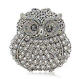 Rhinestone Owl Purse Clutch Handbag Prom Wedding Party Evening Bag for Women Crossbody Shoulder Bag (Silver)