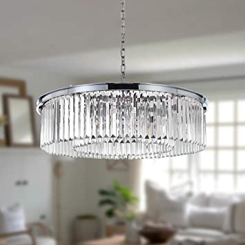 DSRJ Modern Crystal Chandelier Pendant Chrome Raindrop Lighting Ceiling Light Fixture Lamp for Dining Room Bathroom Bedroom Livingroom entryway W22 Inch (Bulbs Included)