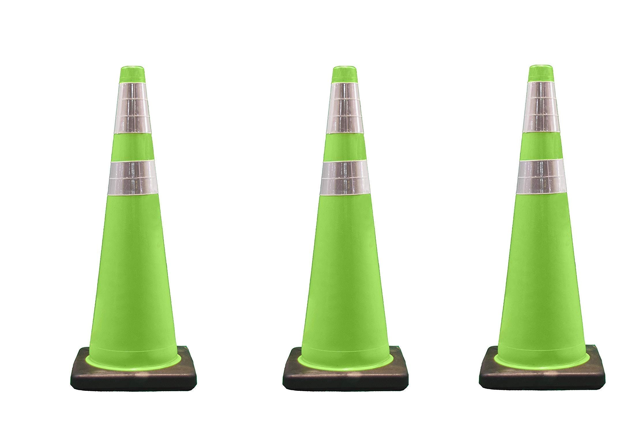 Cortina Traffic Cone, PVC Black Base and 6'' Upper/4'' Lower Reflective Collar 03-500-06LI, 36'' Height, Fluorescent Green (Pack of 3)