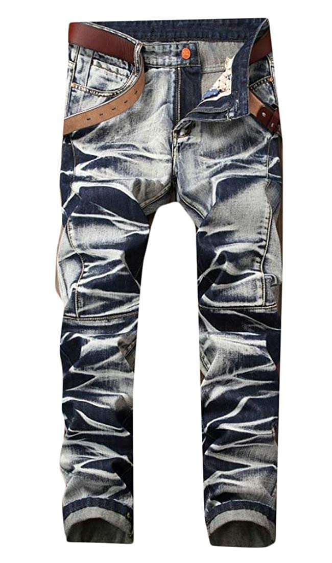 Wofupowga Mens Open Bottom Washed Trousers Pleats Denim Jeans Faded Mid Waist Distressed Pants