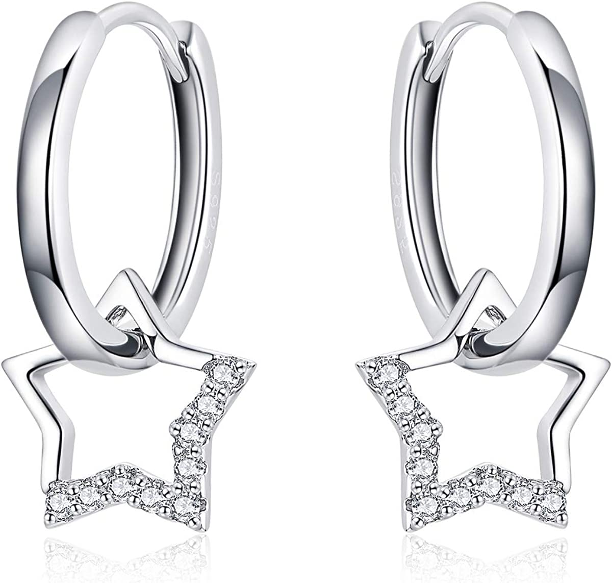 Pendientes de aro pequeños con diseño de estrella de plata con colgante para mujer, ideal como regalo de cumpleaños para el día de la madre