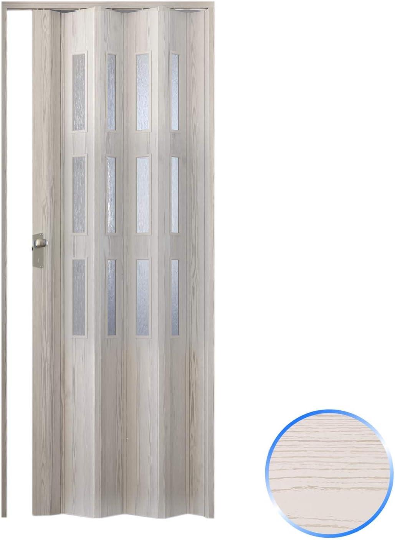 Forte Puerta Plegable de Interior de PVC 88,5x214 cm Pino Blanqueado - Vidrio Satén Mod.Luciana