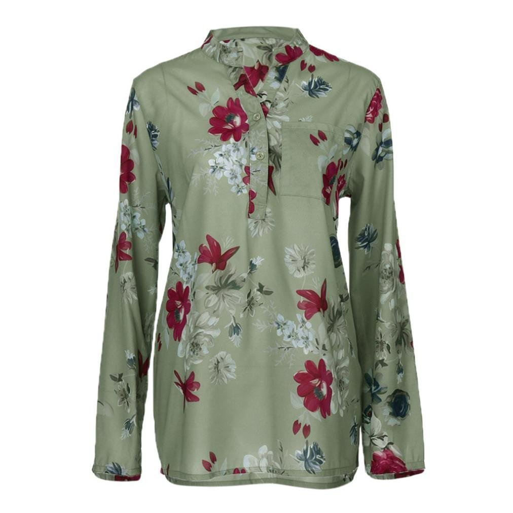 a1f6aa6e30 Top5  Kulywon Women Plus Size Chiffon Floral Print Long Sleeve Blouse  Pullover Tops Shirt