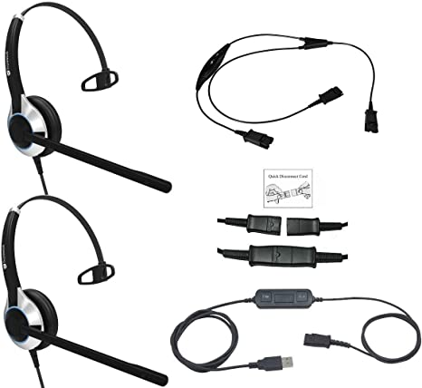 Plantronics Headset QD Plug Y Training Supervisor Cable Cord no MUTE Function