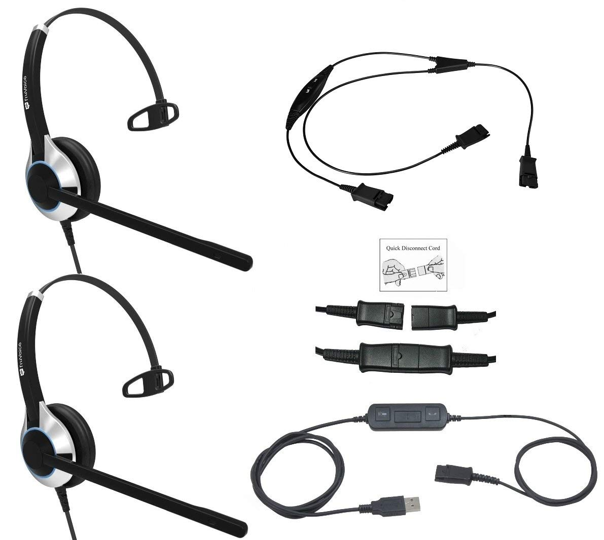 Deluxe USB Headset Training Solution (Includes 2 x TruVoice HD-500 Single Ear Noise Canceling Microphone Headsets, USB Cable with Mute and Volume Controls and a Training Y Cable) by TruVoice
