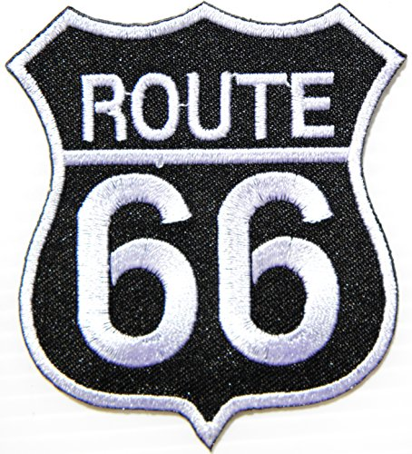 - ROUTE 66 Shield Logo Lady Biker Rider Hippie Punk Rock Tatoo Jacket T-shirt Patch Sew Iron on Embroidered Sign Badge Costume