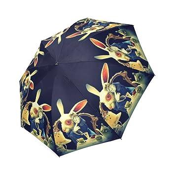 Alicia en el país de las maravillas Conejo Custom plegable lluvia paraguas resistente al viento resistente