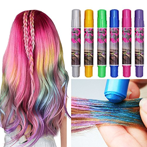 6 Sticks Hair Chalk Pens, Metallic Glitter Temporary Hair Dye Pastel, Highlight Streaks, Edge Chalks, Non-Toxic, Color No Mess for All Hair