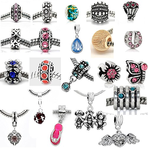 20 Beads Mix Pack Of Assorted Silver Tone Charms Rhinestones Bead Charms Murano Glass Beads And Spacers