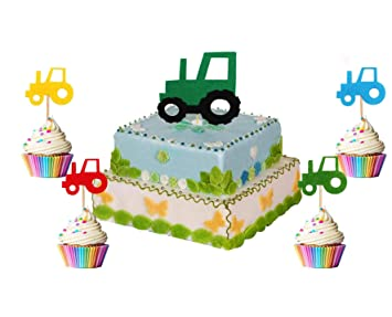 Ron Pt Tractor Cupcake Toppers John Deere Green Tractor Felt Party