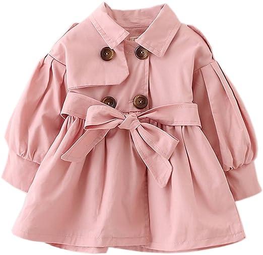 TAIYCYXGAN Baby Toddler Girls Ruffle Jacket Coat Bowknot Autumn Outwear Trench Coat Overcoat
