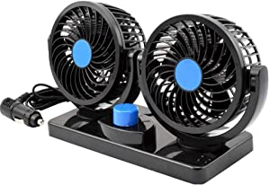 12V Dual Head Car Fan, Electric Car Auto Cooling Air Circulator Fan with 360 Degree Rotatable and 2 Speed Adjustable, for SUV RV Boat Vehicles Golf