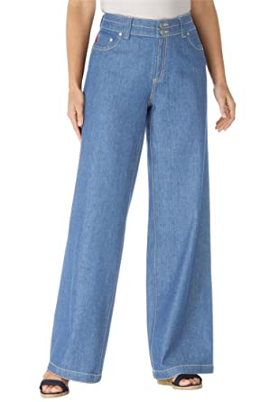Amazon.com: Women's Plus Size Petite Wide Leg 100 Cotton Jean ...