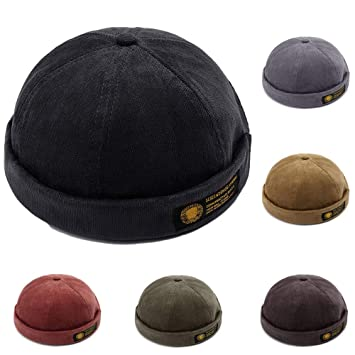 54f5ac1b YAMEE Men Women Hats Skullcap Beanie Worker Sailor Cap Brimless Cap Worker Hat  Rolled Cuff Retro