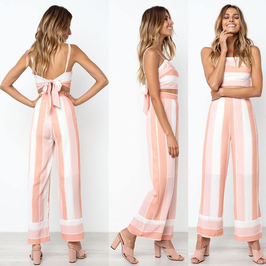 FTXJ 2018 New Summer 2PCS Fashion Women Striped Backless Strappy Tops Trouser Sets Ladies Beach Jumpsuit Summer