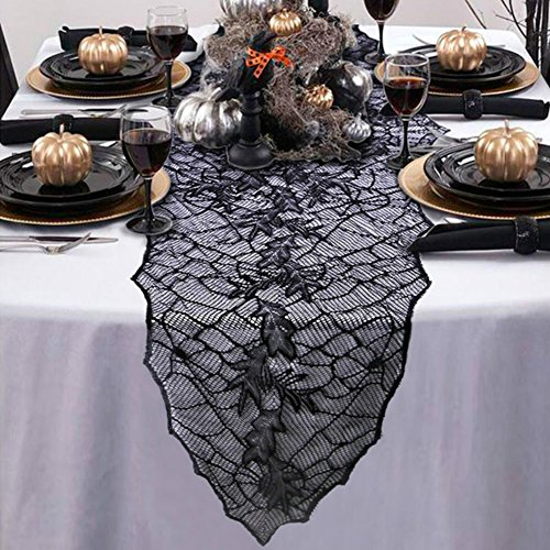Spooky Halloween Dinner (Aytai 74 x 22 Inch Halloween Table Runner Black Lace Tablecloth Halloween Table Cover for Halloween, Dinner Parties and Scary Movie)