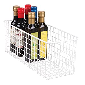 "mDesign Farmhouse Decor Metal Wire Food Storage Organizer Bin Basket with Handles for Kitchen Cabinets, Pantry, Bathroom, Laundry Room, Closets, Garage - 16"" x 6"" x 6"" - Matte White"
